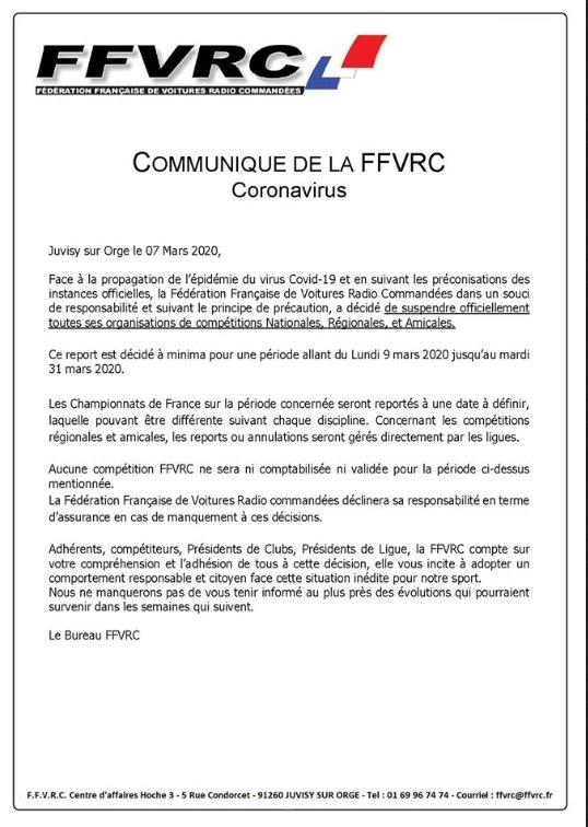 Actualité Covid19 - Suspension courses FFVRC 20030710