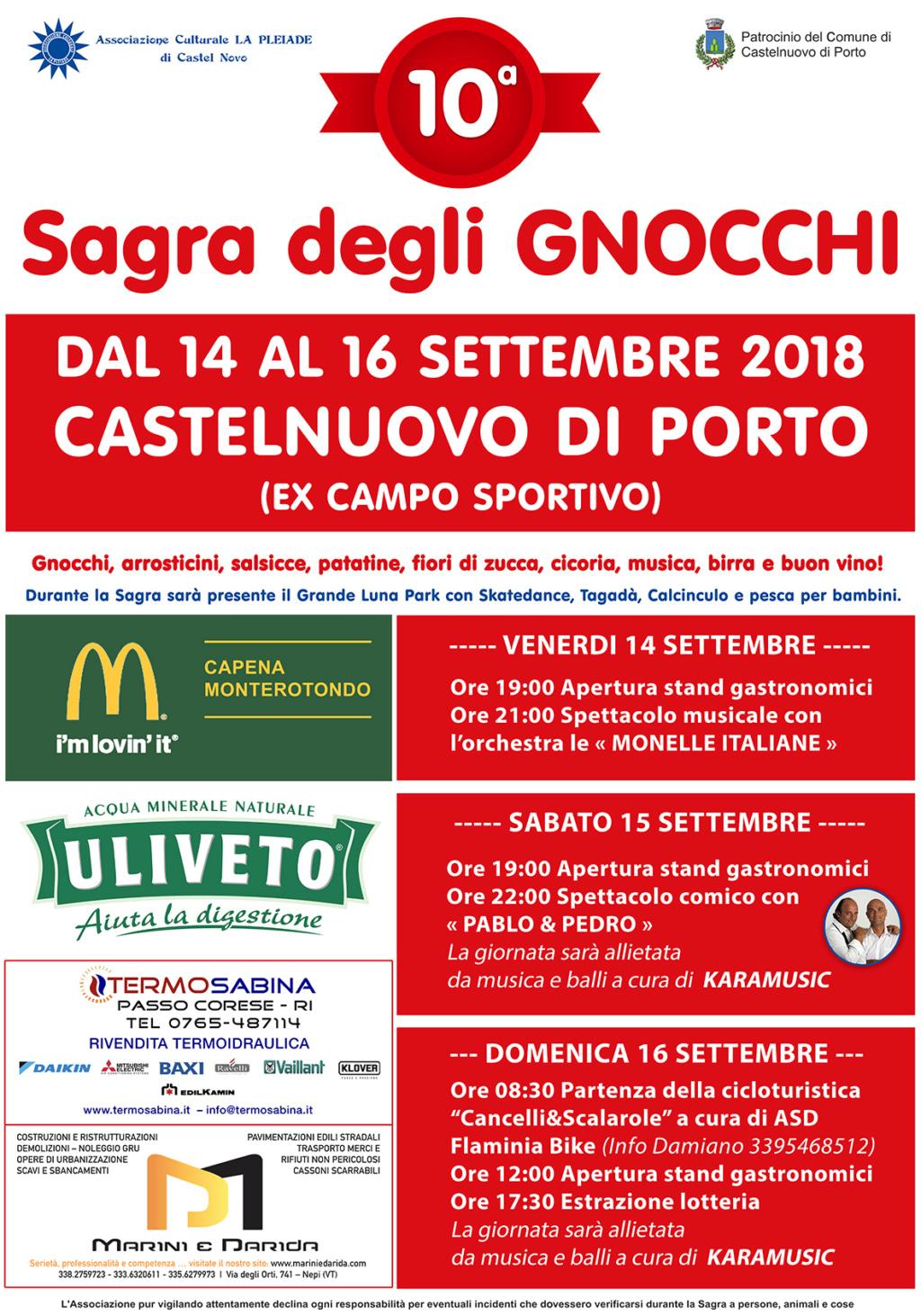 10^ SAGRA DEGLI GNOCCHI a Castelnuovo di Porto il 14, 15, 16 settembre 2018 Sagra_10
