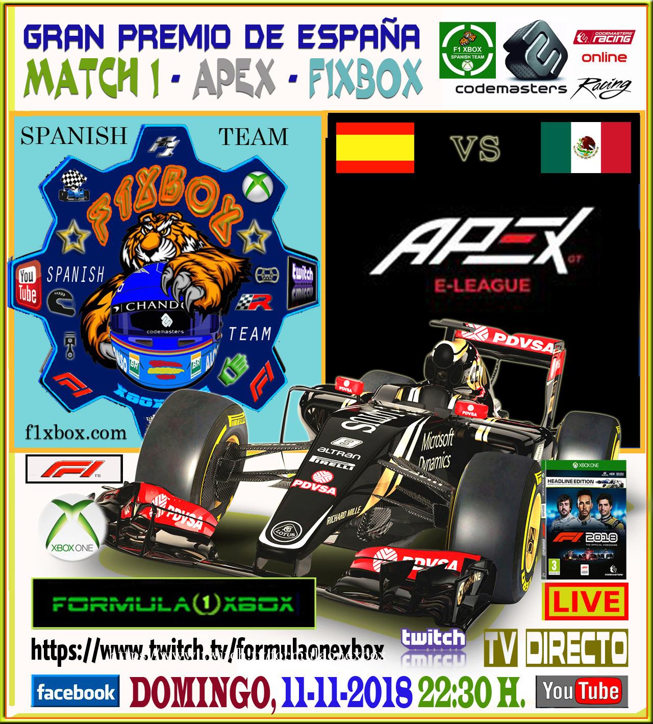 F1 2018 . XBOX ONE *** CARRERA INTERFOROS APEX vs F1 XBOX *** DOMINGO 11 - 11 - 2018 A LAS 22:00 H. *** GP DE ESPAÑA AL 50 *** Cabece28