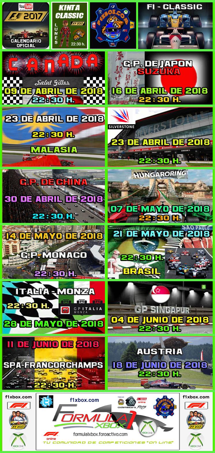 ¡ CAMPEÓN ! / F1 2017 / CAMPEONATO ONE CLASSIC - F1 XBOX / CAMPEÓN, PODIUM, CALENDARIO Y CLASIFICACIÓN FINAL.  Calend11