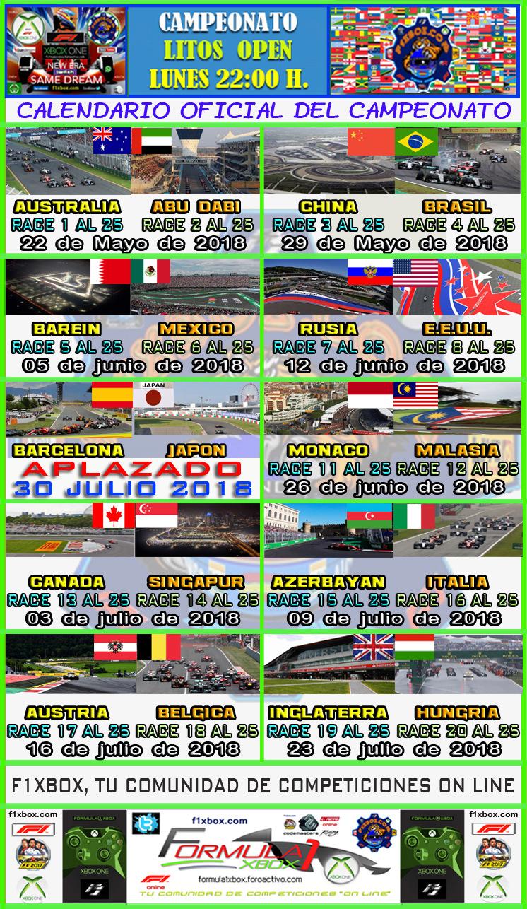 F1 2017 - XBOX ONE / CAMPEONATO OPEN LITOS - F1 XBOX / MARTES 22:30 H. / CALENDARIO OFICIAL DEL CAMPEONATO. Calend17