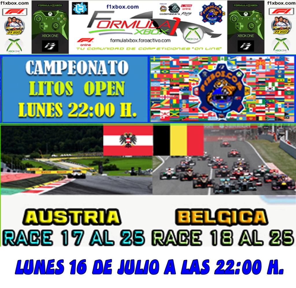 F1 2017 - XBOX ONE / CAMPEONATO LITOS OPEN - F1 XBOX / CONFIRMACIÓN DE ASISTENCIA G.P. DE AUSTRIA Y BÉLGICA /  LUNES 16 - 07 - 2018 / A LAS 22:00 H. Calend18