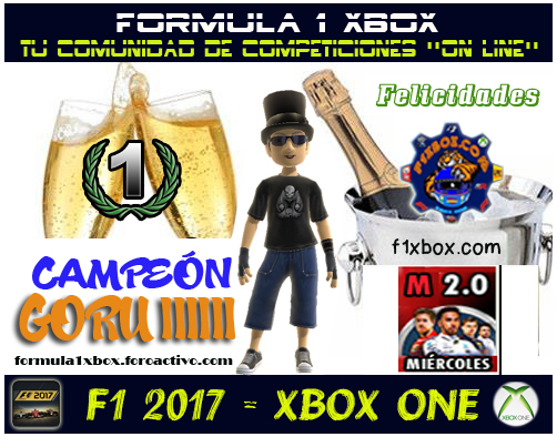 ¡ CAMPEÓN ! / F1 2017 / CAMPEONATO MIÉRCOLES F1- 2.0 - F1 XBOX / CAMPEÓN, PODIUM, CALENDARIO Y CLASIFICACIÓN FINAL.  F1-pod12