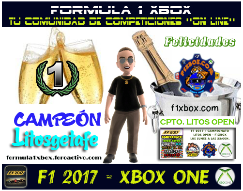 ¡ CAMPEÓN ! / F1 2017 / CAMPEONATO LITOS OPEN - F1 XBOX / CAMPEÓN, PODIUM,  F1-pod14