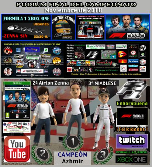 ¡ CAMPEÓN ! / F1 2018 / CAMPEONATO ZENNA SIN * SIN AYUDAS * - F1 XBOX / CAMPEÓN, RESULTADO, PODIUM, CALENDARIO Y CLASIFICACIÓN FINAL.  F1-pod18