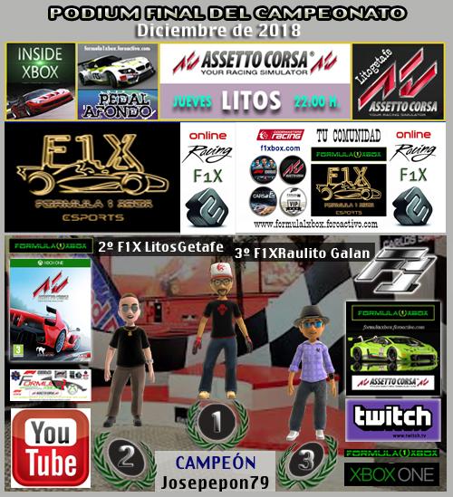¡ CAMPEÓN ! *** ASSETTO CORSA - XBOX ONE *** CAMPEONATO LAMBORGUINI HURACÁN GT3 - F1X / CAMPEÓN, RESULTADO, PODIUM, CALENDARIO Y CLASIFICACIÓN FINAL.  F1-pod24