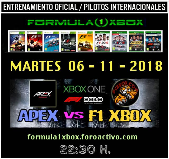 F1 2018 *** CONFIRMACIÓN DE ASISTENCIA A LOS ENTRENOS PARA PREPARAR EL E-SPORT APEX vs F1 XBOX *** MARTES  06 - 11 - 2018 *** GP DE ESPAÑA AL 50 *** Martes14