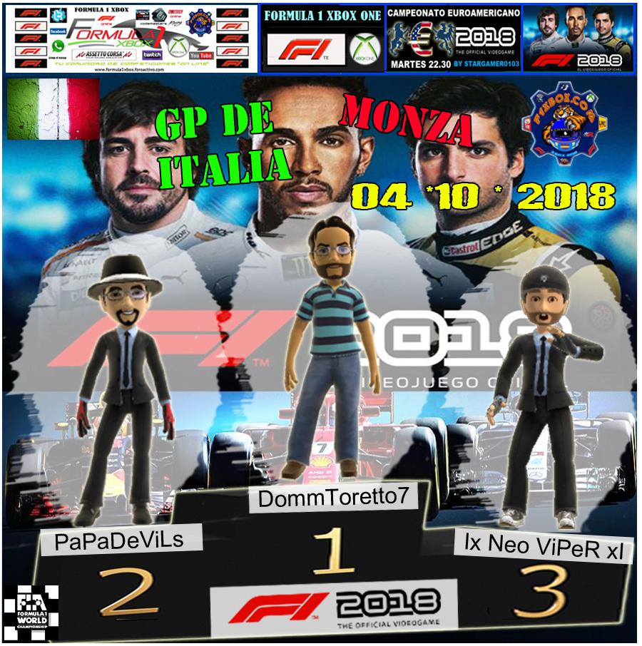 F1 2018 *** CAMPEONATO EUROAMERICANO *** TODAS LAS AYUDAS *** RESULTADOS Y PODIUM *** GP DE ITALIA *** 02 - 10 - 2018. Podio_20