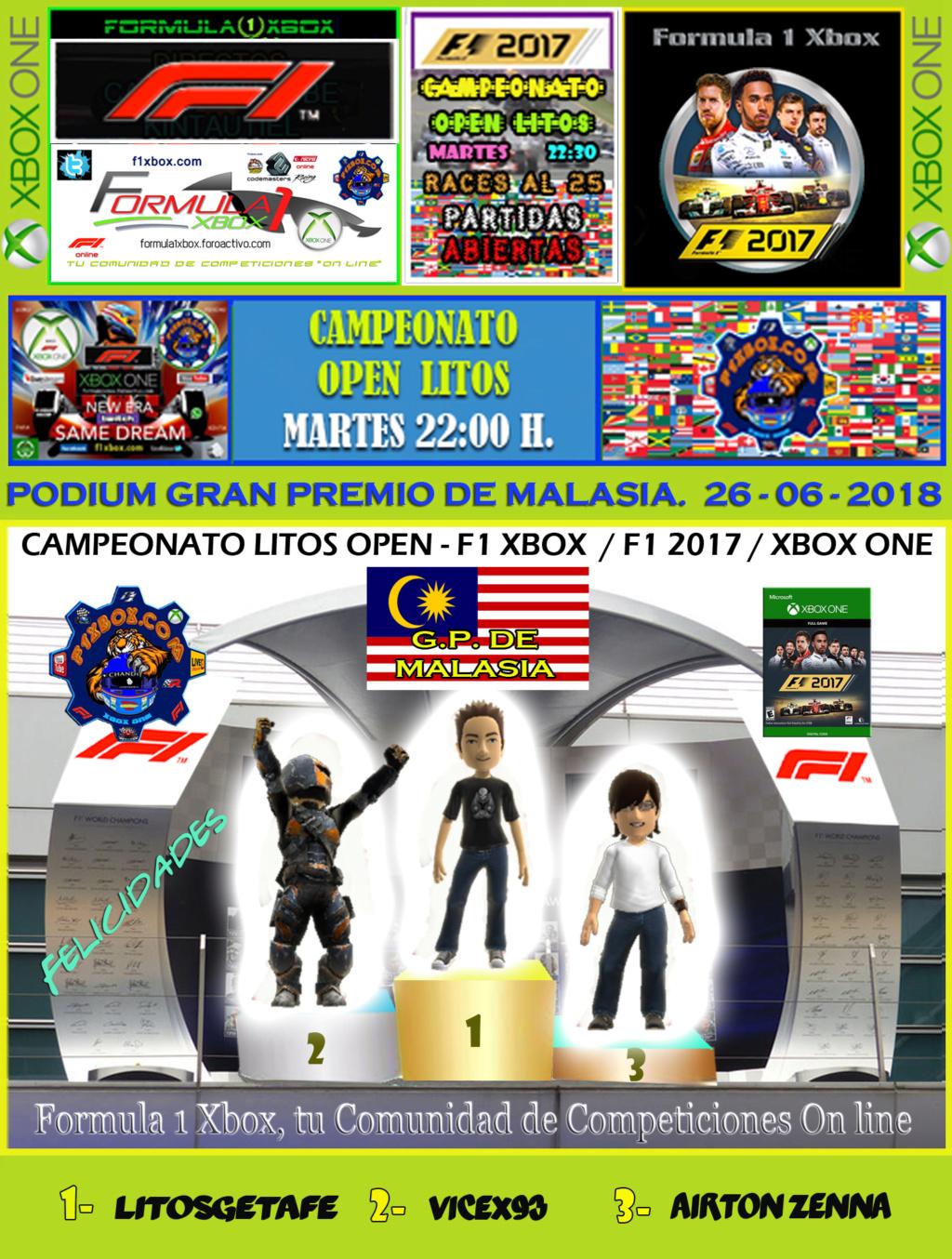 F1 2017 - XBOX ONE / CAMPEONATO OPEN LITOS - F1 XBOX / RESULTADOS Y PODIUM / G.P. DE MÓNACO + GP DE MALASIA / MARTES 26 - 06 - 2018. Podium18