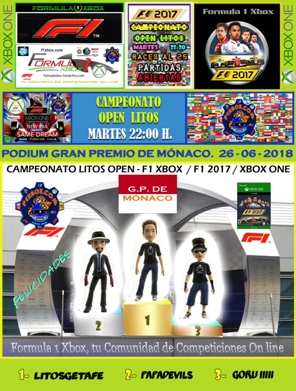 F1 2017 - XBOX ONE / CAMPEONATO OPEN LITOS - F1 XBOX / RESULTADOS Y PODIUM / G.P. DE MÓNACO + GP DE MALASIA / MARTES 26 - 06 - 2018. Podium19