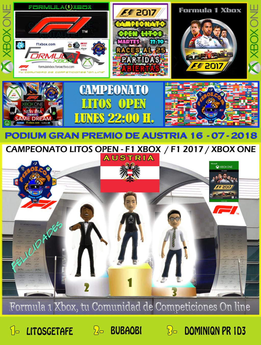 F1 2017 - XBOX ONE / CAMPEONATO LITOS OPEN - F1 XBOX / RESULTADOS Y PODIUM / G.P. DE AUSTRIA + GP DE BÉLGICA / LUNES 16 - 07 - 2018. Podium24