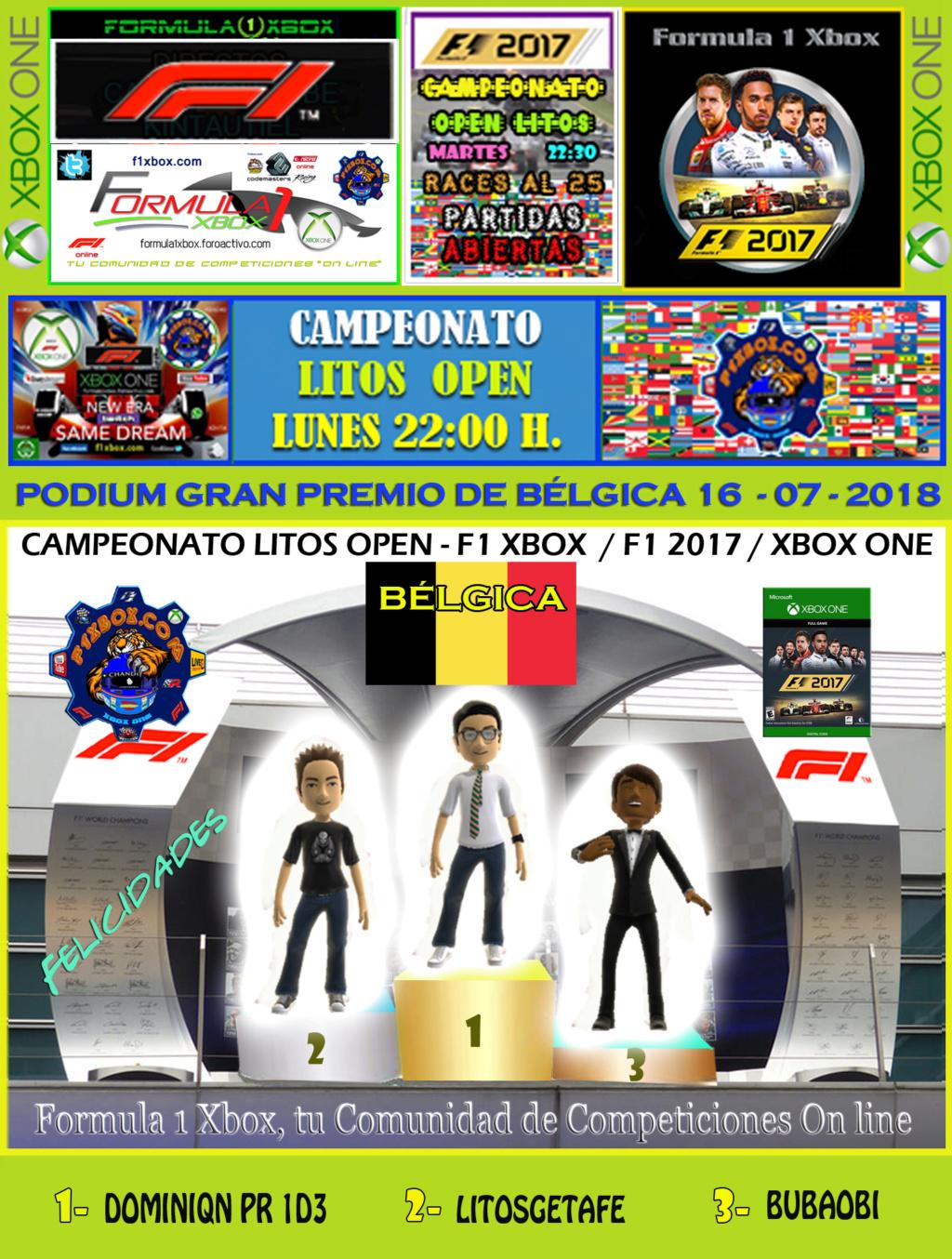 F1 2017 - XBOX ONE / CAMPEONATO LITOS OPEN - F1 XBOX / RESULTADOS Y PODIUM / G.P. DE AUSTRIA + GP DE BÉLGICA / LUNES 16 - 07 - 2018. Podium25