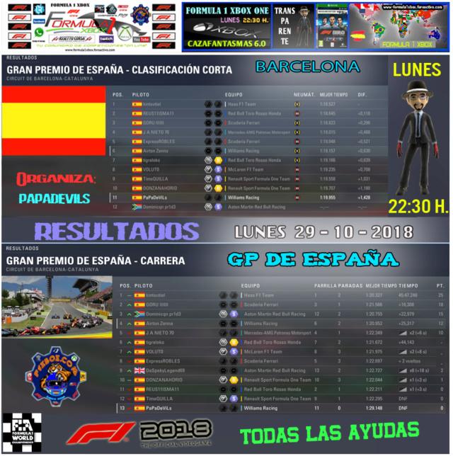 F1 2018 *** CAMPEONATO CAZAFANTASMAS 6.0 *** TODAS LAS AYUDAS *** RESULTADOS Y PODIUM *** GP DE ESPAÑA *** 29 - 10 - 2018. Result25