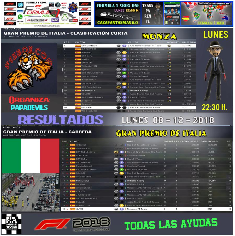 F1 2018 *** CAMPEONATO CAZAFANTASMAS 6.0  -  F1X *** TODAS LAS AYUDAS - TRANSPARENTE *** RESULTADOS Y PODIUM *** GP DE ITALIA *** 10 - 12 - 2018. Result42