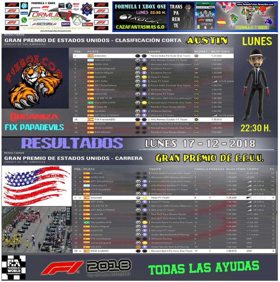 F1 2018 *** CAMPEONATO CAZAFANTASMAS 6.0  -  F1X *** TODAS LAS AYUDAS - TRANSPARENTE *** RESULTADOS Y PODIUM *** GP DE E.E.U.U. *** 17 - 12 - 2018. Result43