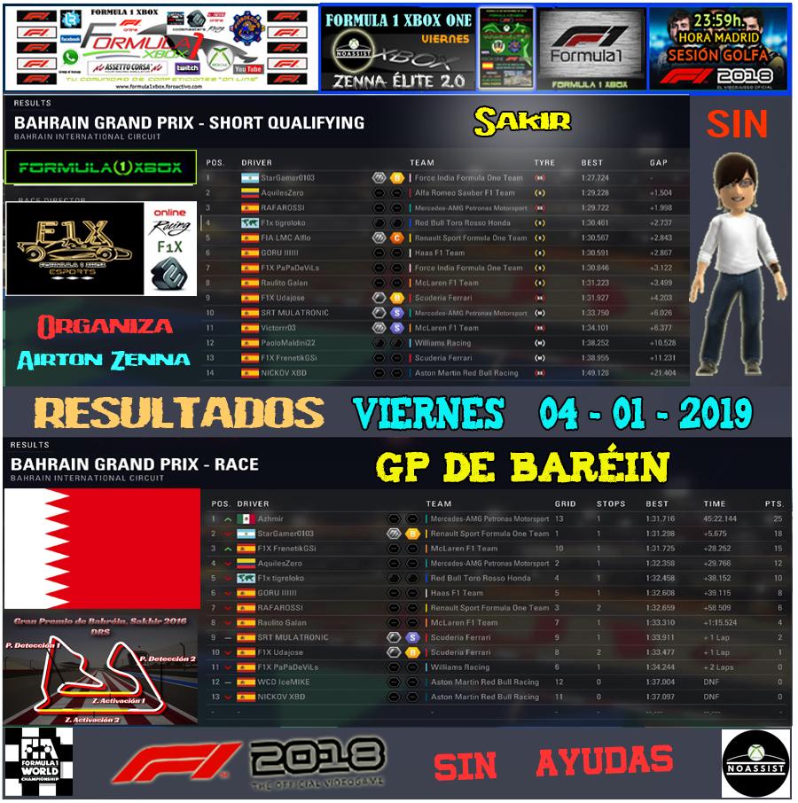 F1 2018 *** CAMPEONATO ZENNA ÉLITE 2.0 - F1X *** SIN AYUDAS *** VIERNES 23:59 HORA MADRID *** RESULTADOS Y PODIUM DEL GP DE BARÉIN / 04-01-2019. Result48
