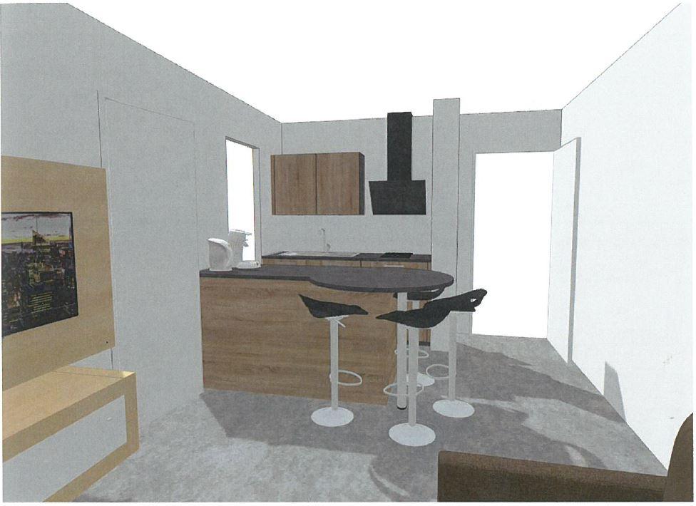 Rénovation cuisine / optimisation cellier dans un appart T2 + décoration Vu_cui10