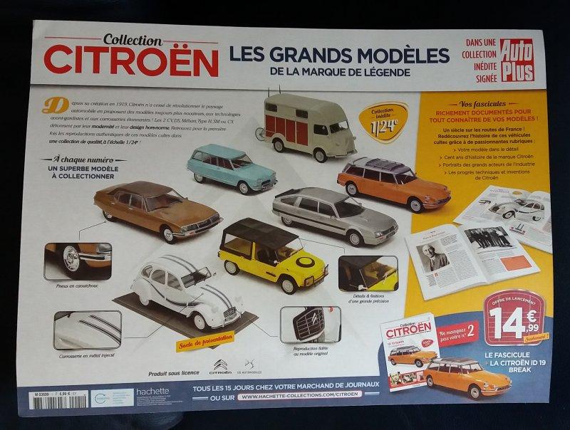 """Collection """"Les plus beaux modèles Citroën - Hachette 1/24ème 20190811"""