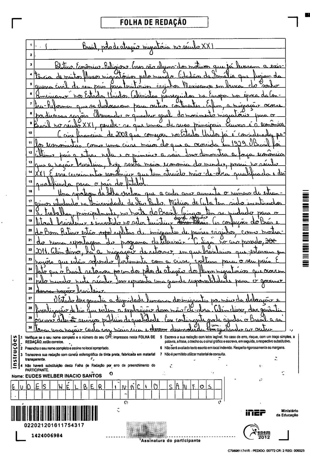Redação de Eudes Wélber Inácio Santos Redazz11