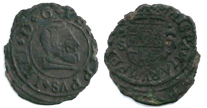 16 maravedís de Felipe IV ¿1663? Madrid Marca S: Sebastían González de Castro 16_mar10
