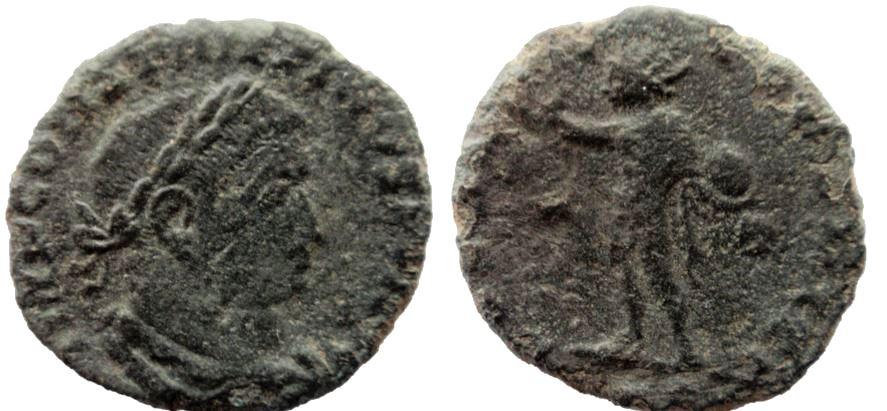 Nummus de Constantino I. SOLI INVICTO COMITI. Trier Consta15