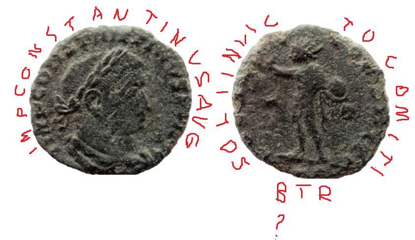 Nummus de Constantino I. SOLI INVICTO COMITI. Trier Consta16