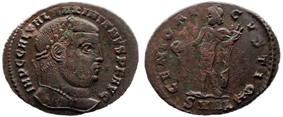 2 monedas / Nummus de Galerio Maximiano. GENIO AVGVSTI CMH. Nicomedia Galeri10
