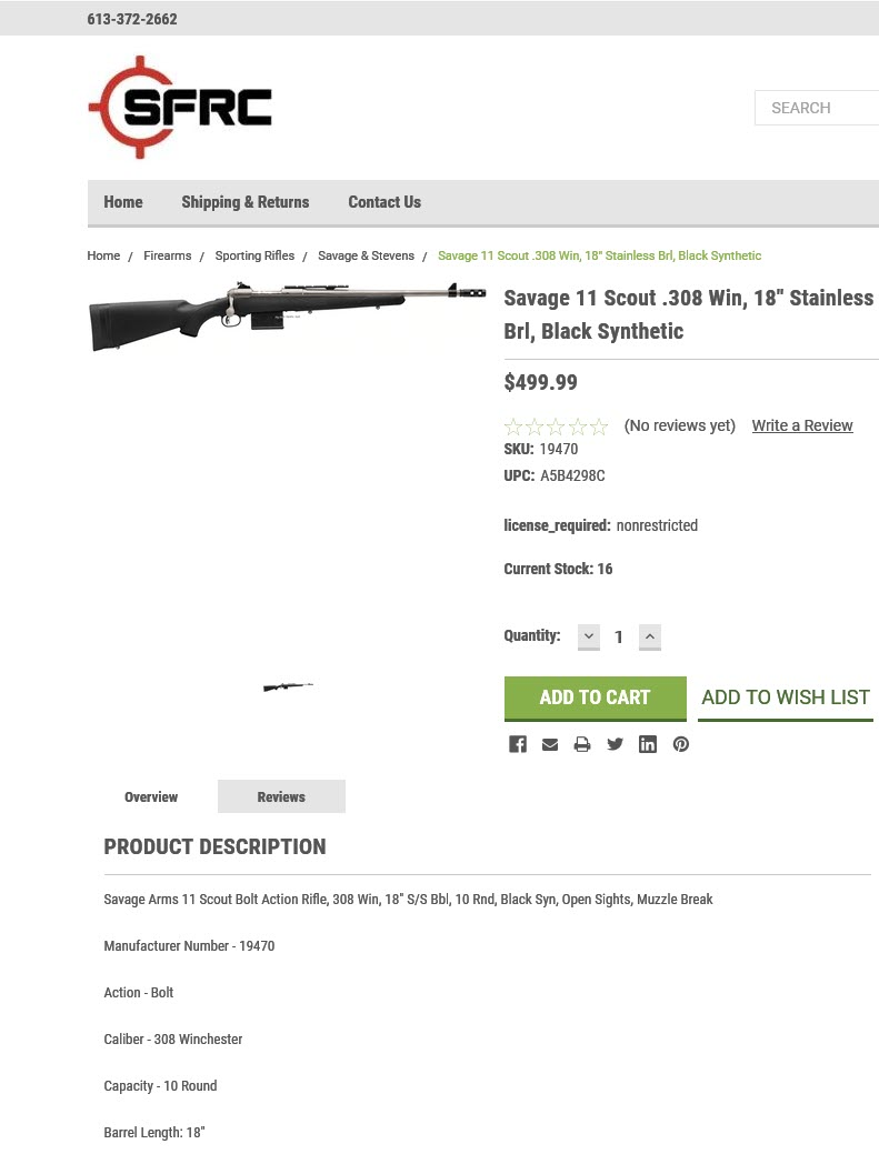 "Deal alert ! Savage 11 Scout .308 Win, 18"" Stainless Brl, Black Synthetic 2019-110"