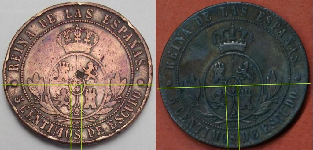 5 Céntimos de Escudo de Isabel II del año 1868 ceca de Barcelona sospechosa. Difere11