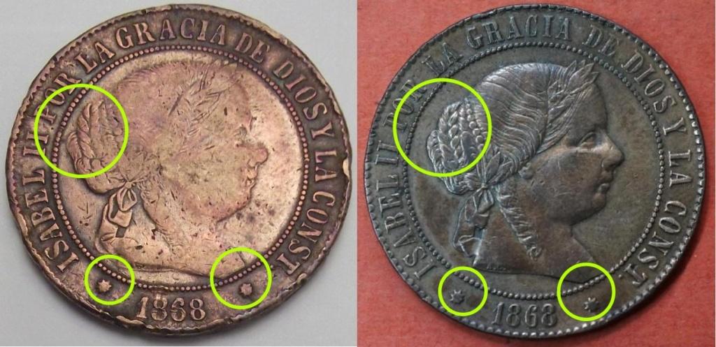 5 Céntimos de Escudo de Isabel II del año 1868 ceca de Barcelona sospechosa. Difere12