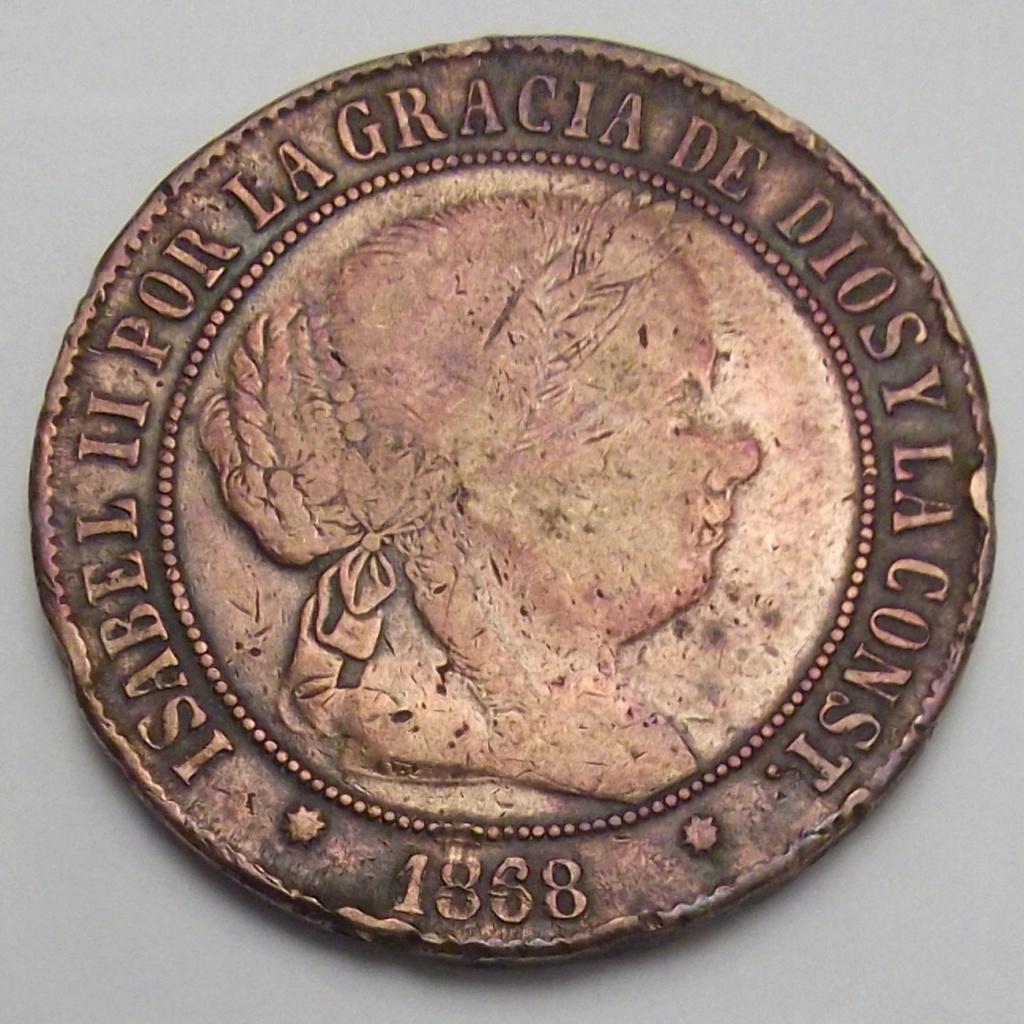 5 Céntimos de Escudo de Isabel II del año 1868 ceca de Barcelona sospechosa. Sospec10