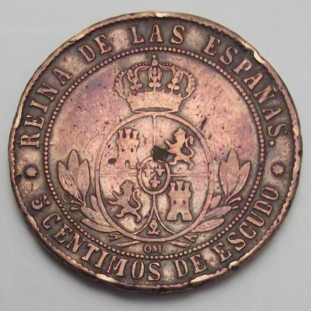 5 Céntimos de Escudo de Isabel II del año 1868 ceca de Barcelona sospechosa. Sospec11