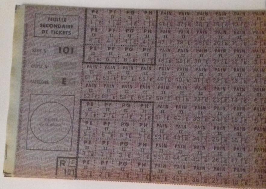 """Rationnement -  Feuilles """"suppléments"""" et """"feuilles secondaires de tickets"""" 69910"""