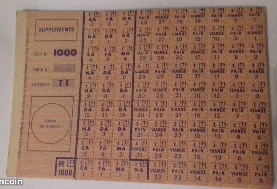 """Rationnement -  Feuilles """"suppléments"""" et """"feuilles secondaires de tickets"""" 70010"""