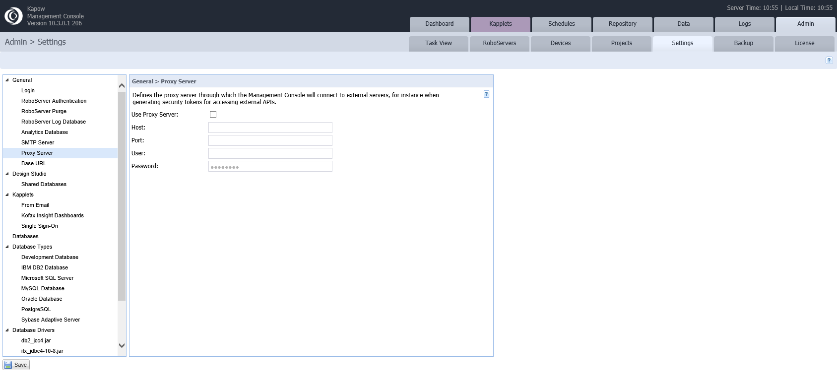 """issue """"error from the load page action"""" in Management console, but run it in design studio is ok. Kapow_10"""