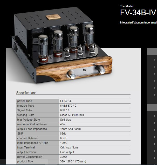 Yarland EL34 Integrated Tube Amp for sale - sold Fv34b-10