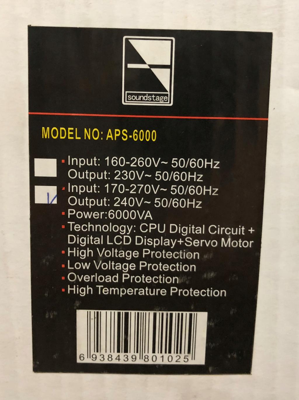 Soundstage APS-6000 Auto Voltage Stabiliser Img_2627