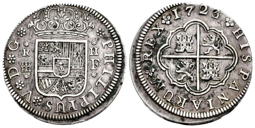 2 Reales Felipe V 1722/3. Segovia. Sobrefecha 001-6810