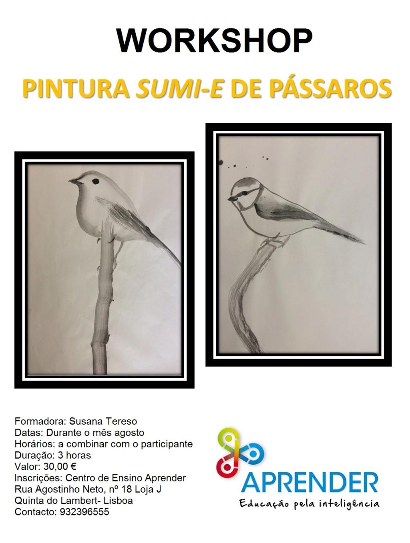 """Workshop """"Pintura Sumi-e de Pássaros"""" Cartaz11"""