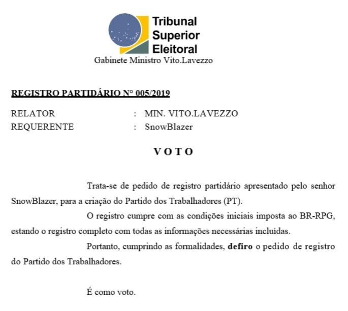 [REQ] REGISTRO PARTIDÁRIO Nº 005/2019 20190314