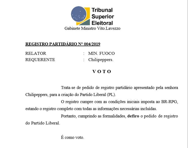 [REQ] 004/2019 Registro Partidário do Partido Liberal 20190325