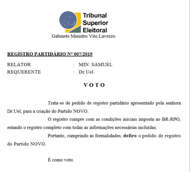 [REQ] Registro Partidário do Partido Novo 007/2019 20190326