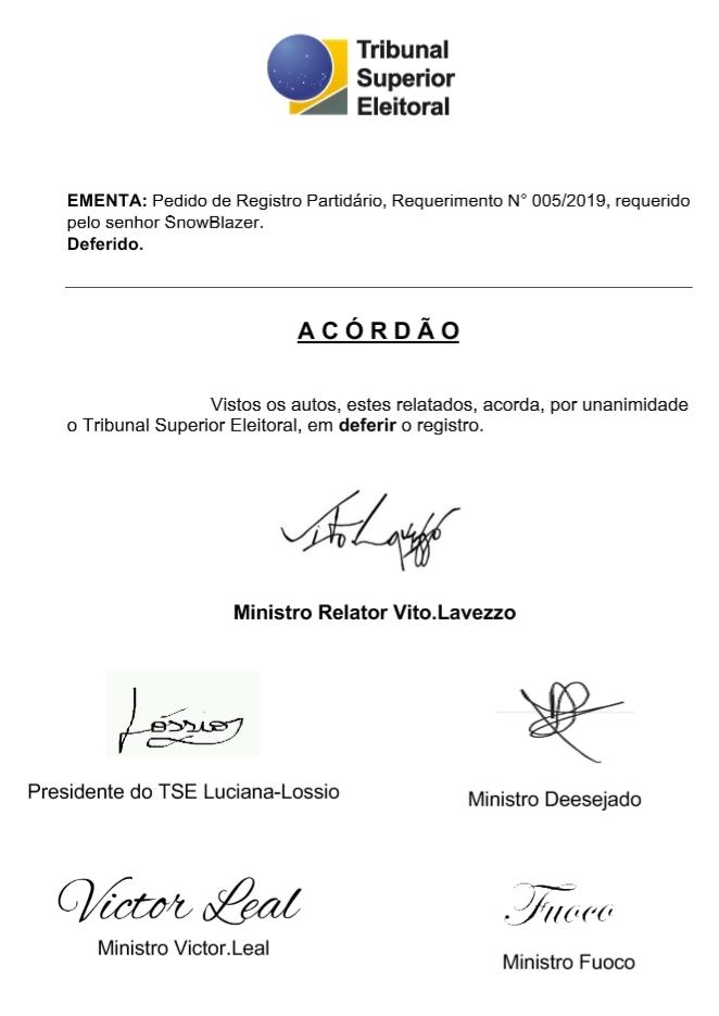 [REQ] REGISTRO PARTIDÁRIO Nº 005/2019 20190330