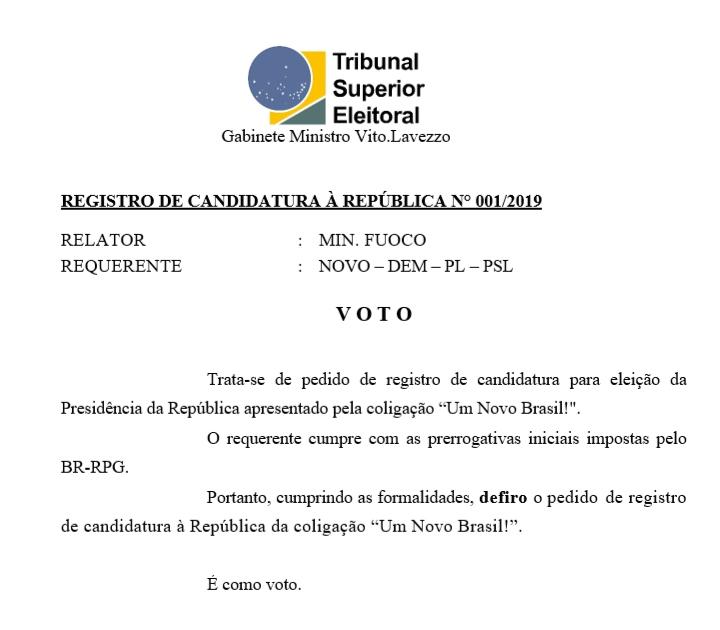 [REQ]  Registro Candidatura á Presidência n° 01 20190338