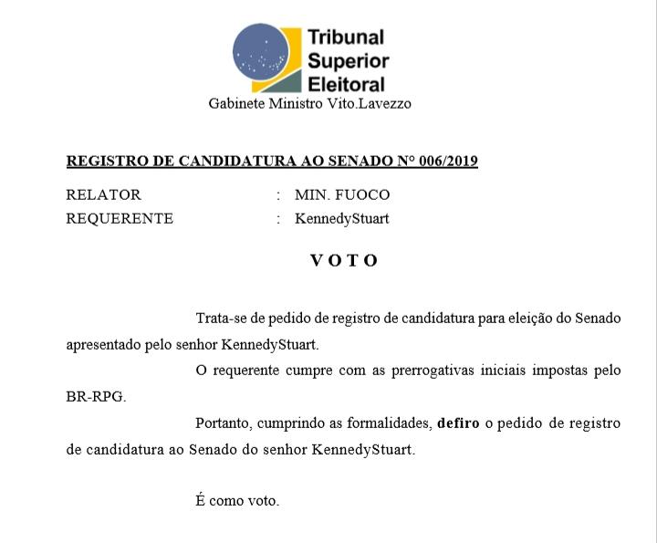 [REQ] Reg. Cand. Senado n° 006/2019 20190339