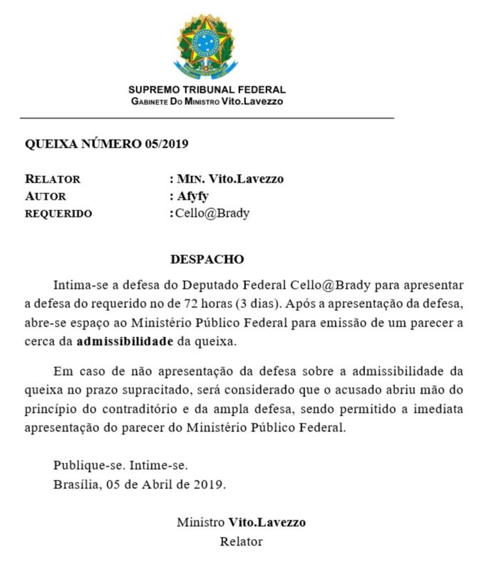 [QUEIXA] 05/2019 [1T] Denúncia Contra o Sr. Deputado Cello@Brady 20190411