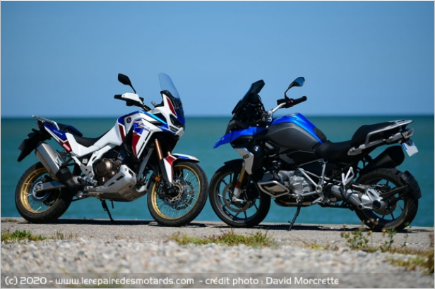 Comparatif - BMW R 1250 GS Adventure VS Honda CRF 1100 L Africa Twin Adventure Sports: les trails au sommet Ffffff34