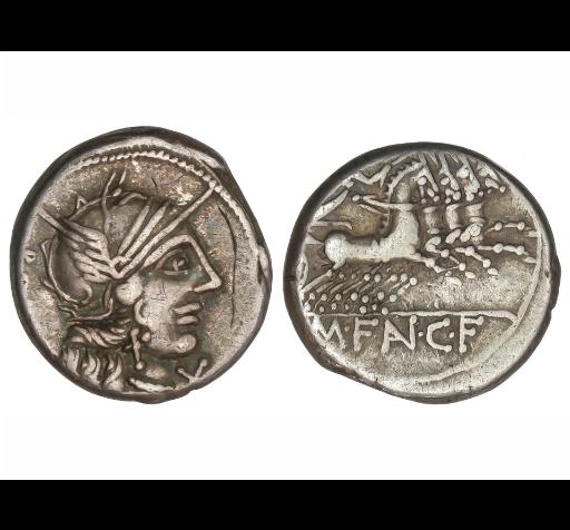 Denario de la gens Fannia. M. FAN. C F.  Victoria conduciendo cuádriga dcha. Roma. Fannia10