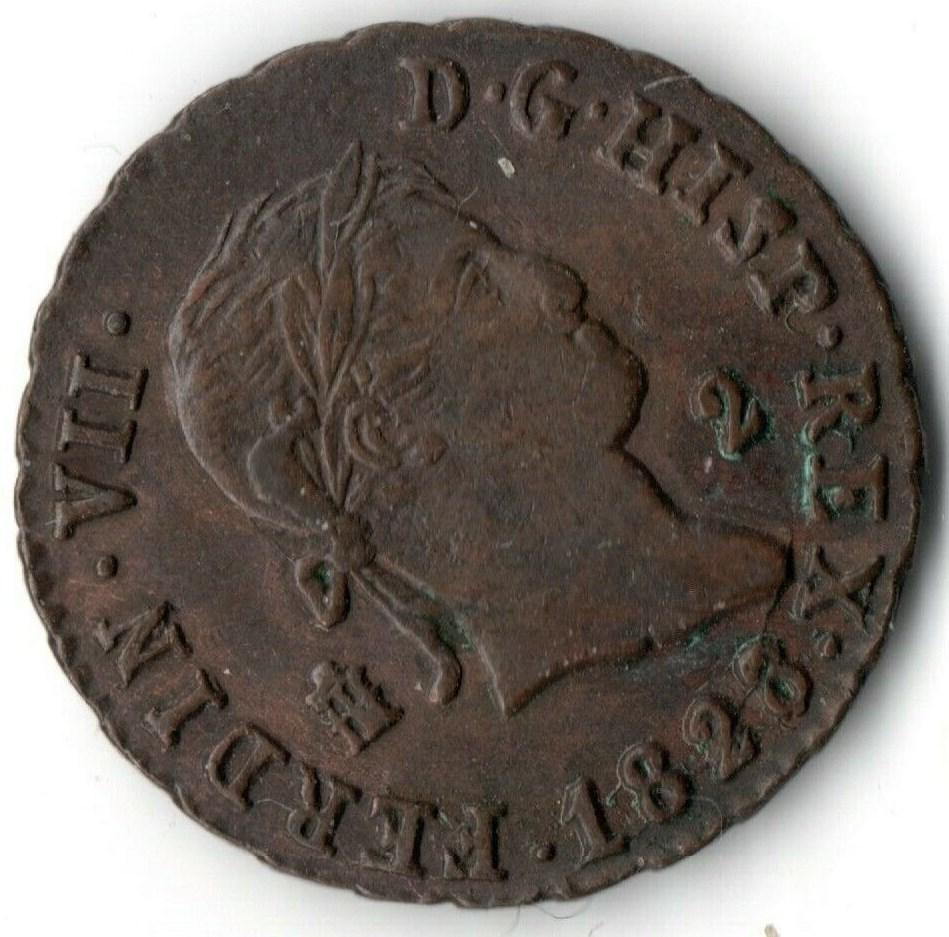 Fernando VII - 2 maravedís 1828 Fernan17