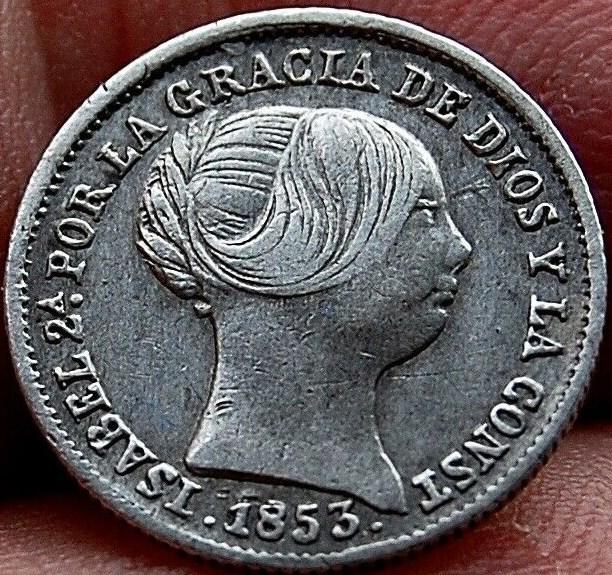 1 Real 1853. Isabel II. Barcelona Isabel11